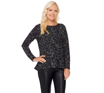 Linea by Louis Dell'Olio Textured Long Sleeve Knit Top - A268133