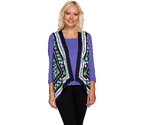 Bob Mackie's Printed Vest and 3/4 Sleeve Knit Top Set