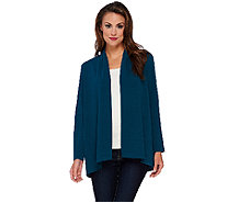 Susan Graver Passport Knit Long Sleeve Cascade Front Cardigan - A269233