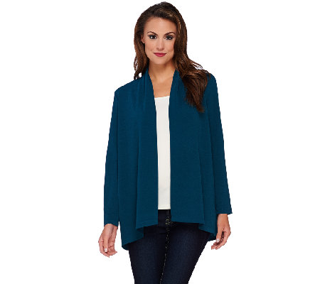 Susan Graver Passport Knit Long Sleeve Cascade Front Cardigan