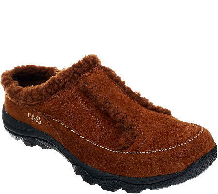 Ryka Faux Shearling Suede Clogs - Arctica