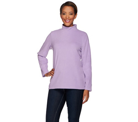 Denim & Co. Essentials Fleece Long Sleeve  Mock Neck Top