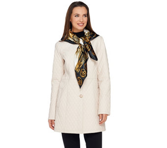 Dennis Basso Quilted Faux Leather Button Front Jacket with Scarf - A270633