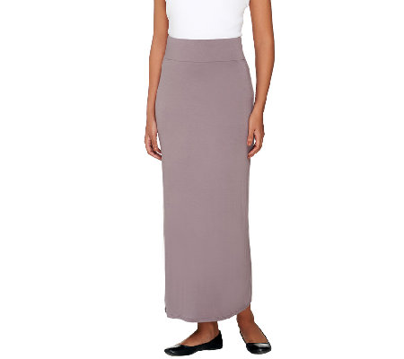 """As Is"" LOGO Layers by Lori Goldstein Regular Pull-On Knit Maxi Skirt"