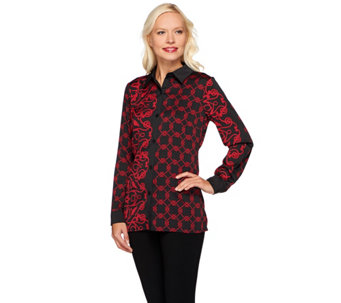 Bob Mackie's Button Front Twin Moroccan Printed Collared Shirt - A271133