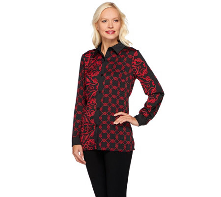 Bob Mackie's Button Front Twin Moroccan Printed Collared Shirt