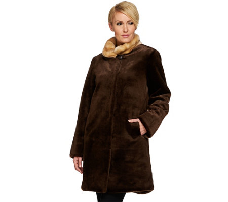 Dennis Basso Platinum Collection Sheared Faux Mink Coat