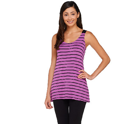 """As Is"" LOGO by Lori Goldstein Striped Scoop Neck Tank with Solid Straps"