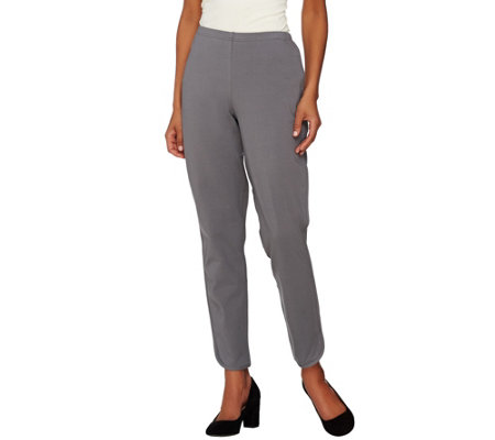 Women with Control Regular Slim Leg Knit Pants with Tulip Hem