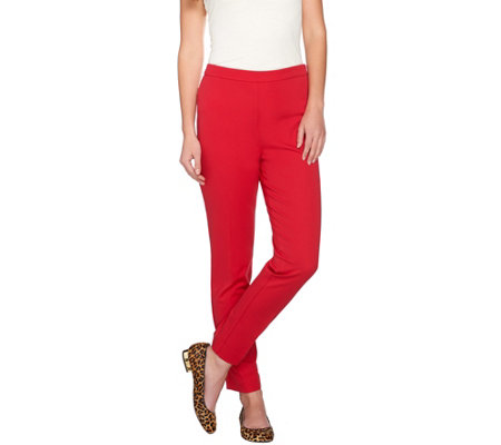 Susan Graver Coastal Stretch Side Zip Slim Leg Ankle Pants - Petite