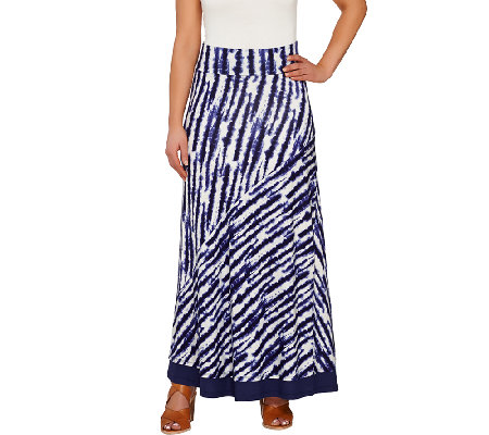 """As Is"" LOGO by Lori Goldstein Pull-On Printed Knit Maxi Skirt"