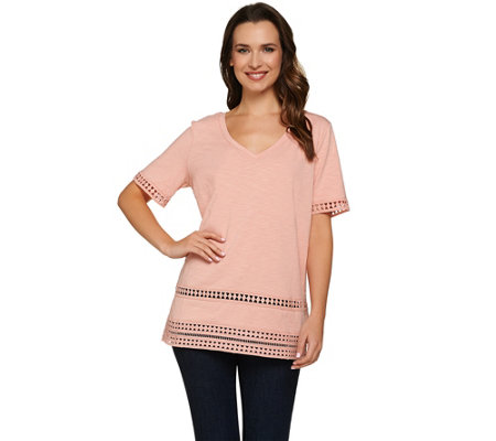 C. Wonder Knit V-neck Short Sleeve Top with Lace Trim