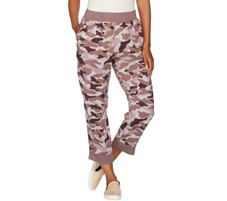 LOGO by Lori Goldstein Camo Printed Pants w/ Solid Ribbed Cuffs