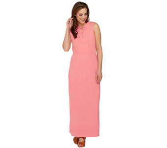 Isaac Mizrahi Live! Petite Split V-neck Knit Maxi Dress - A276733