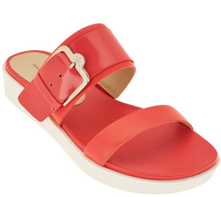 """As Is"" Isaac Mizrahi Live! Two Strap Sandals with Buckle Detail"