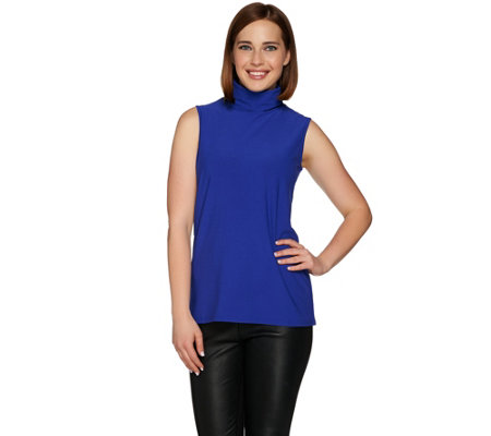 Dennis Basso Caviar Crepe Sleeveless Turtleneck