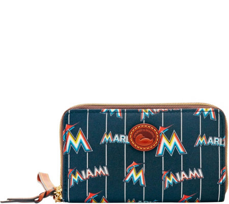 Dooney & Bourke MLB Nylon Marlins Zip Around Phone Wristlet