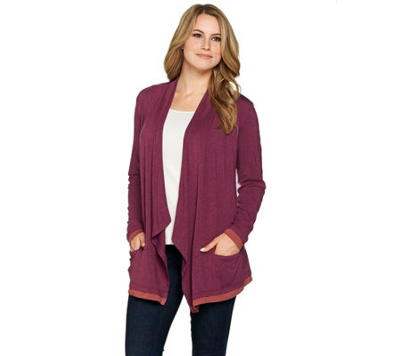 LOGO by Lori Goldstein Heathered Knit Open Front Cardigan
