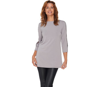 Susan Graver Liquid Knit Embellished Split Sleeve Tunic - A282933