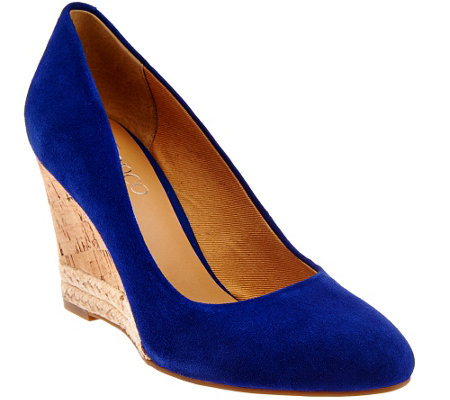 """As Is"" Franco Sarto Suede Cork Wedge Pumps - Calix"
