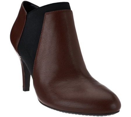 """As Is"" Isaac Mizrahi Live! Leather and Stretch Booties w/ Pointed Toe"