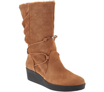 """As Is"" H by Halston Suede Wedge Boots w/ Faux Fur - Liz - A283833"