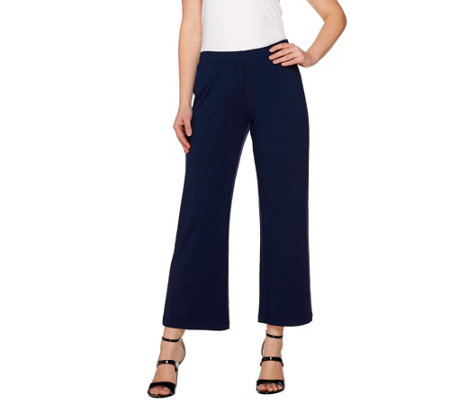 """As Is"" Susan Graver Dolce Knit Comfort Waist Wide Leg Pants - Petite"