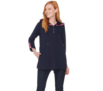 Susan Graver Weekend French Terry A-Line Tunic with Novelty Buttons - A285033