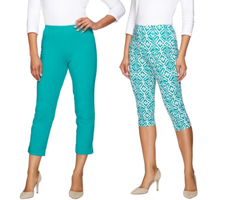 """As Is"" Women with Control Regular Printed Pedal Pushers and Crop Pants"