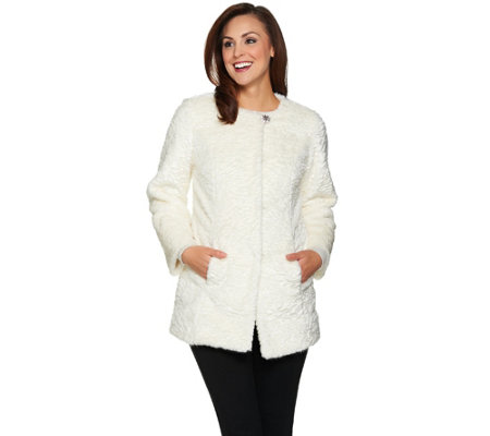 Dennis Basso Platinum Collection Faux Fur Topper Coat