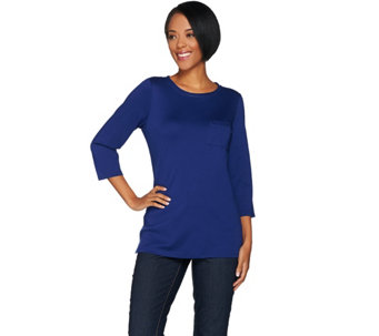 C. Wonder Essentials Pima Cotton 3/4 Sleeve Tunic w/ Pocket - A286433