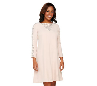 """As Is"" Styled by Joe Zee Woven Dress with Lace Sleeve Inserts - A287233"
