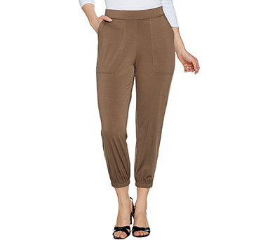 Lisa Rinna Collection Banded Bottom Knit Crop Pants with Zip Detail - A287833