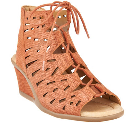 Earth Nubuck Leather Lace-up Wedge Sandals - Daylily