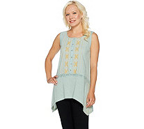 LOGO by Lori Goldstein Embroidered Sleeveless Slub Knit Top - A290233