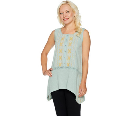 LOGO by Lori Goldstein Embroidered Sleeveless Slub Knit Top