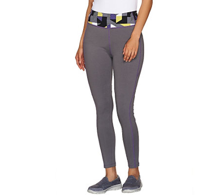 """As Is"" Denim & Co. Active Duo-Stretch Legging with Waistband Print"