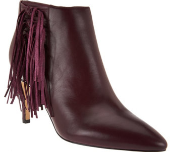 """As Is"" Marc Fisher Leather or Suede Fringe Ankle Boots - Tune - A290833"