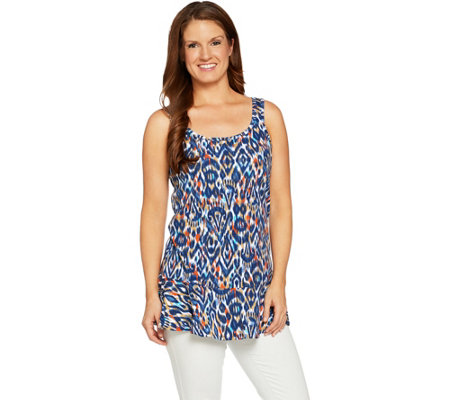 Studio by Denim & Co. Printed Scoop Neck Peplum Tank