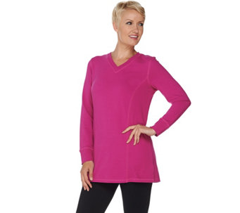 """As Is"" Denim & Co. Active Long Sleeve Tunic with Rib Side Panels - A292333"