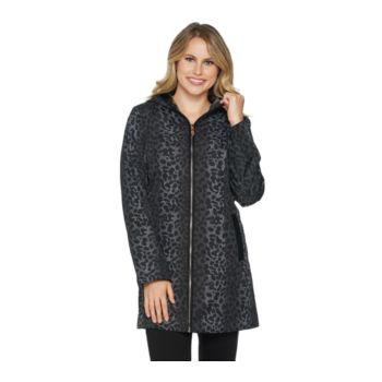 Dennis Basso Water Resistant Leopard Print Jacket with Hood