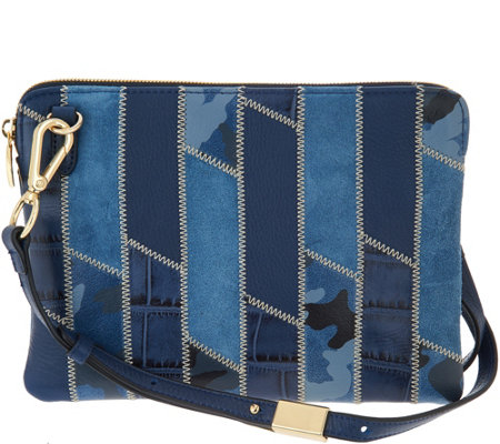 G.I.L.I. Leather Patchwork Crossbody Pouch Handbag
