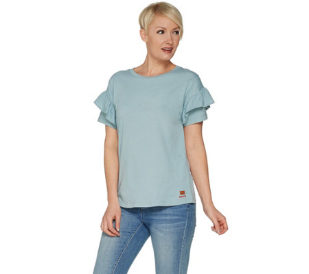 Peace Love World Short Ruffle Sleeve Tee