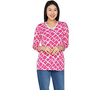 Susan Graver Printed Liquid Knit 3/4 Sleeve Top - A302633