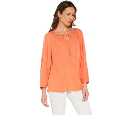Susan Graver Washed Charmeuse Peasant Top