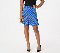 Susan Graver Printed Liquid Knit 8 Gore Pull-On Skort - A305133