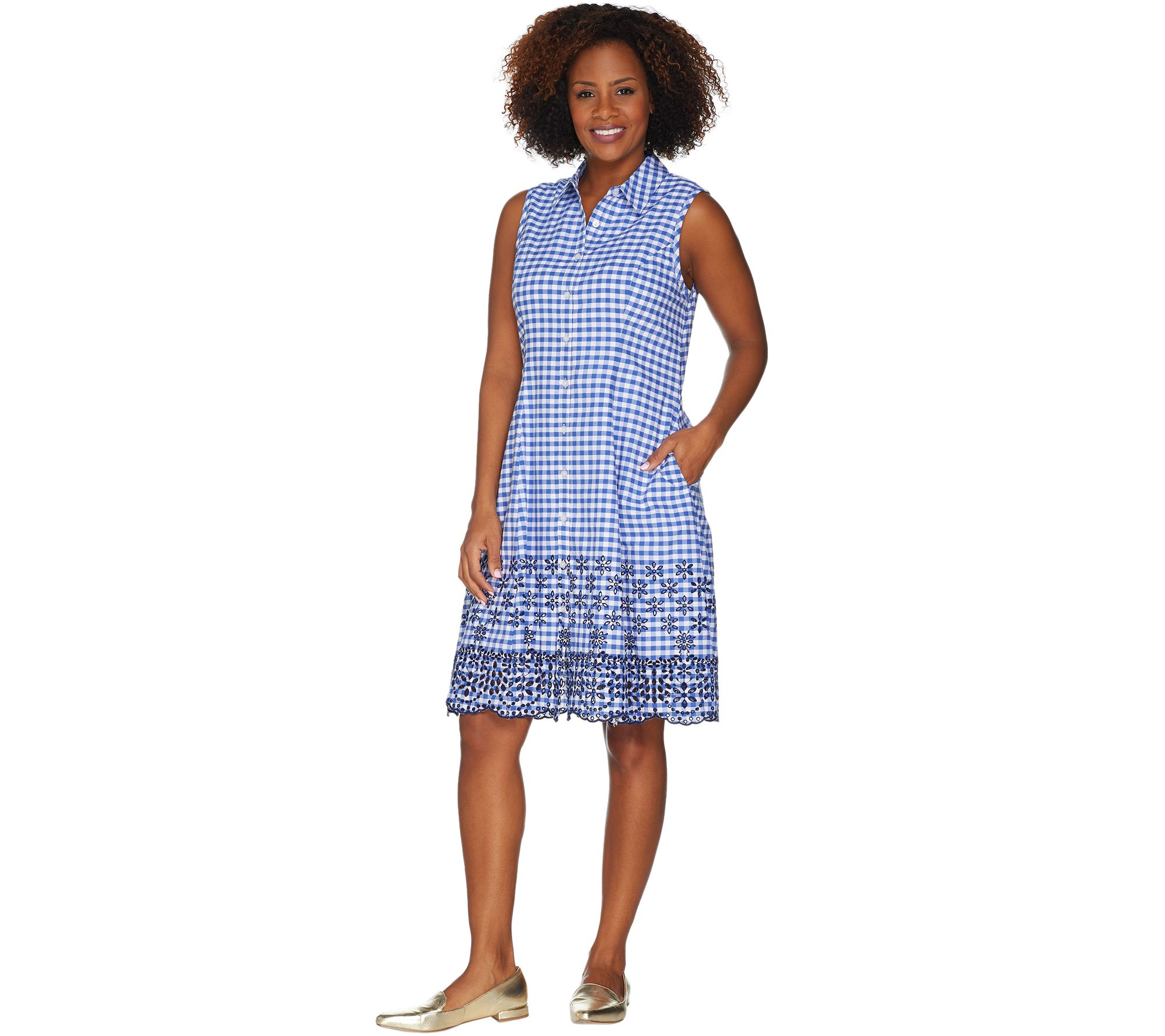 Isaac Mizrahi Live! Gingham Shirt Dress w/ Eyelet Embroidery - A305233