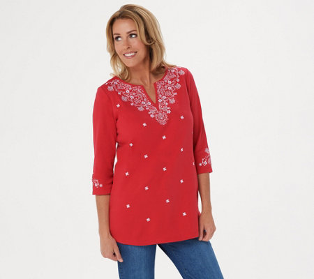 Quacker Factory Bandana Embroidered 3/4 Sleeve Knit Tunic
