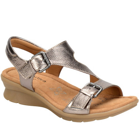 Comfortiva by Softspots Leather Wedge Sandals -Kay