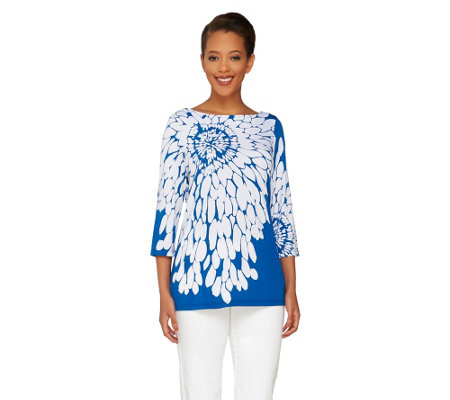 Susan Graver Liquid Knit Floral Print 3/4 Sleeve Top